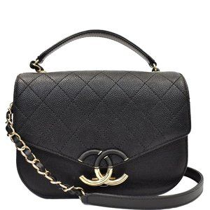 Chanel Quilted Grained Calfskin Top Handle Bag